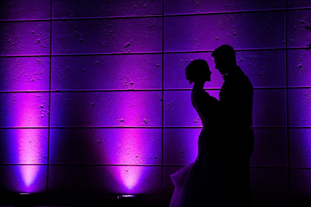 St. Petersburg Museum of Arts Wedding Reception with Blue and Purple Uplighting
