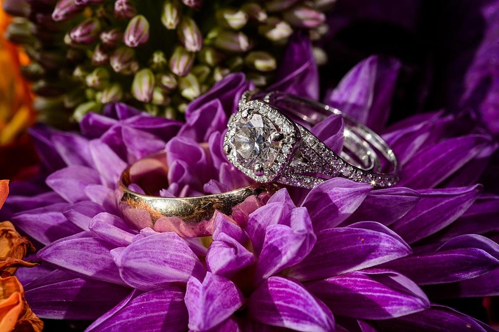 Wedding Rings with Purple Flowers