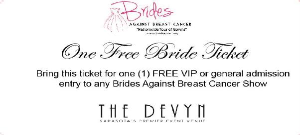 Free Ticket to Brides Against Breast Cancer Wedding Dress Sale in Sarasota, Fl
