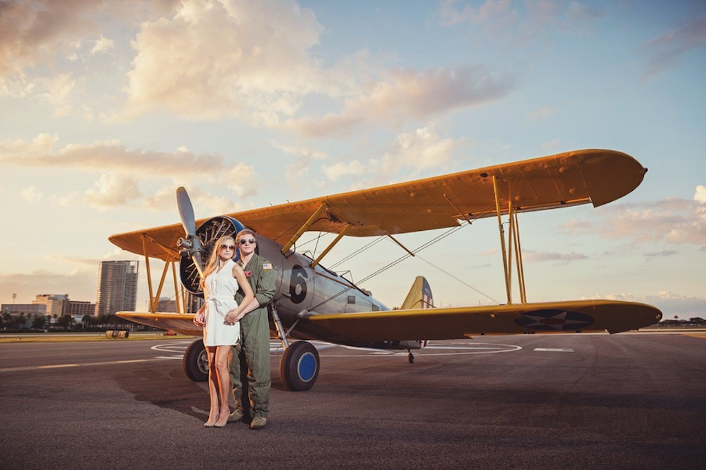 St. Pete, FL Wedding Engagement   Albert Whitted Airport Hanger Engagement Session with Antique, Vintage Plane by Marc Edwards Photography