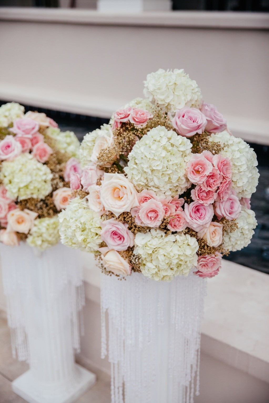 Rose Wedding Ceremony Flowers with Rhinestones by Northside Florist