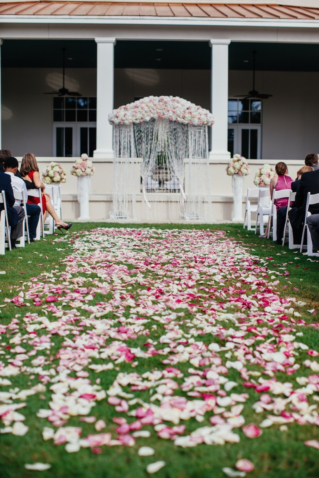 Rose Wedding Arch with Wedding Aisle Rose Carpet with Rhinestones by Northside Florist