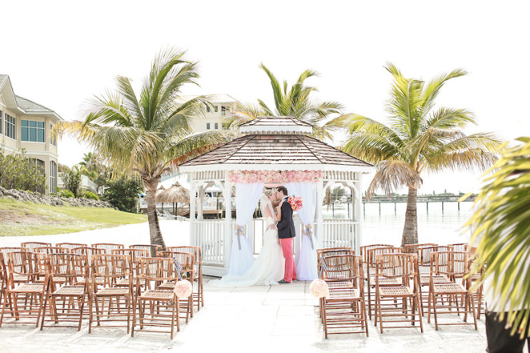 Private Beach Wedding Ceremony with Gazebo and Bamboo Chairs | Waterfront St. Petersburg Wedding Venue Isla Del Sol Yacht and Country Club