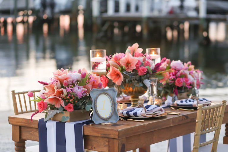 Outdoor Private Beach Wedding Ceremony with Pink and Navy Centerpieces | Waterfront St. Petersburg Wedding Venue Isla Del Sol Yacht and Country Club | Florist Iza's Flowers