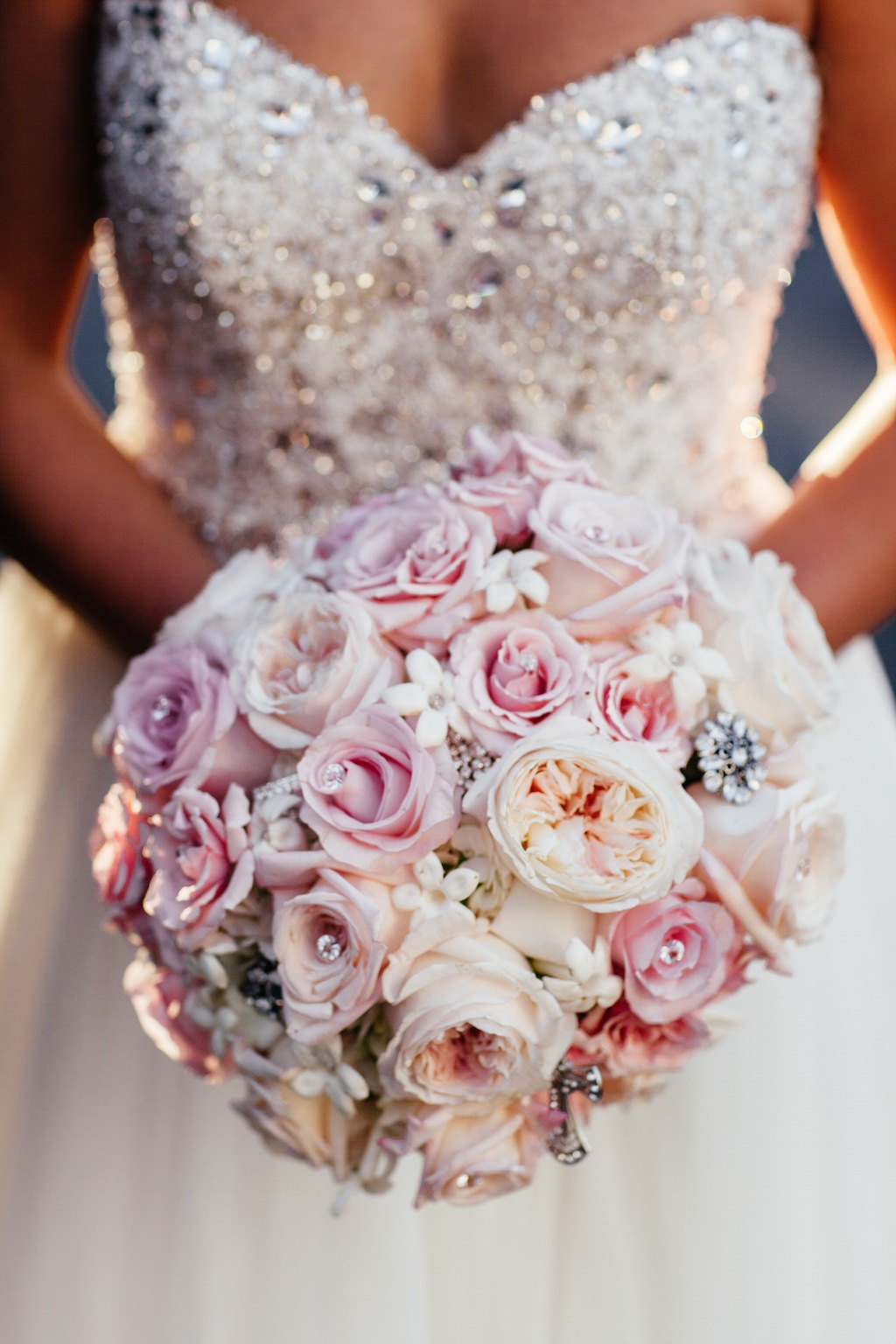 Pink And Peach Rose Wedding Bouquet With Rhinestones And Brooch