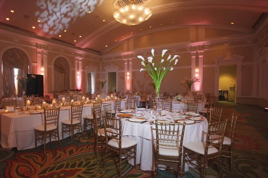 White Cala Lily Wedding Centerpieces   Renaissance Vinoy Wedding Reception