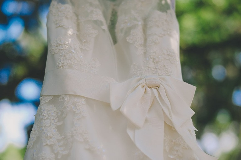 While Lace Wedding Dress with Bow