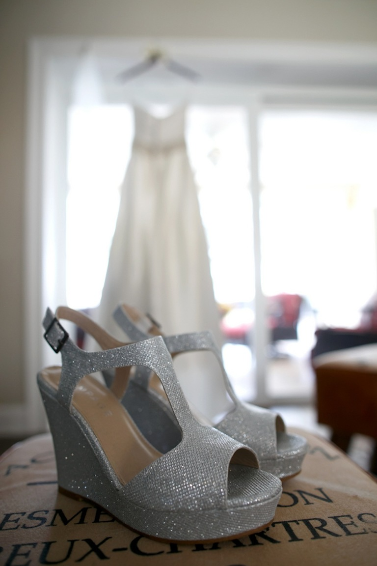 Silver Wedding Shoes Wedges