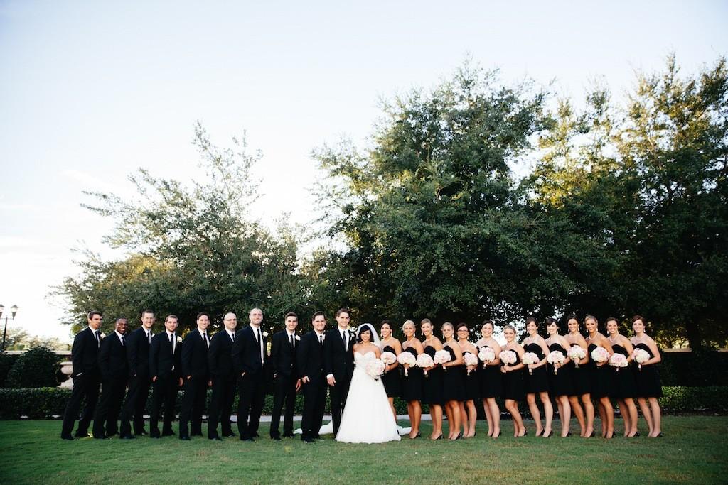 Black Bridesmaid Dresses and Black Groomsmen Suits