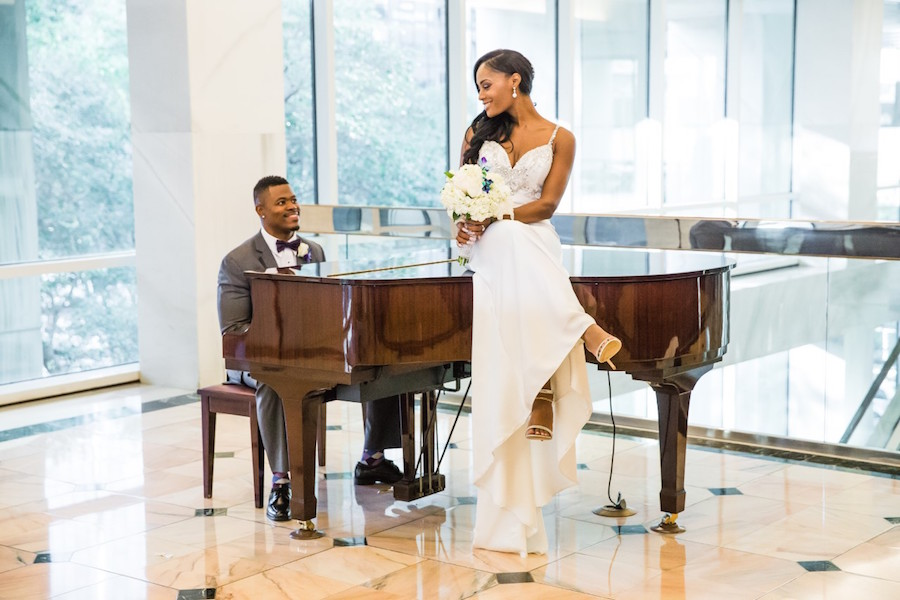 Bride and Groom Wedding Portrait on Piano in the Lobby at The Tampa Club | Downtown Tampa Wedding Venue