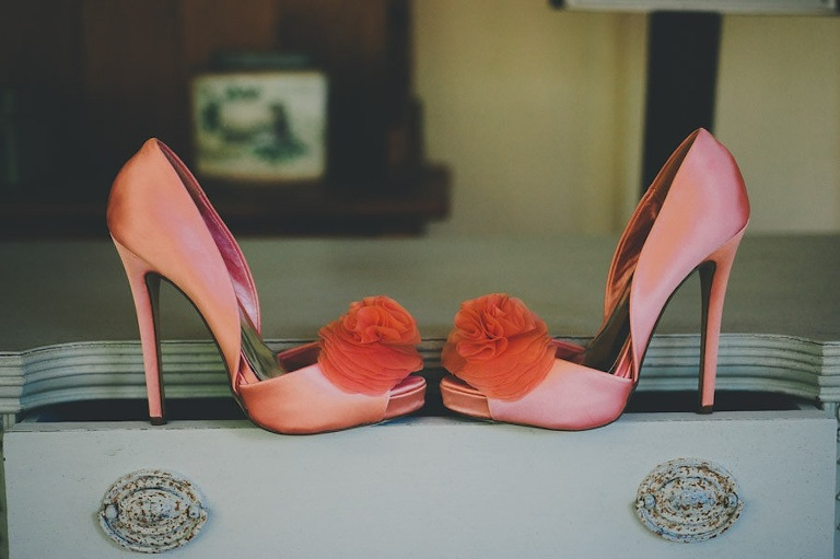 Pink Coral Peep Toe High Heel Wedding Shoes with Bow