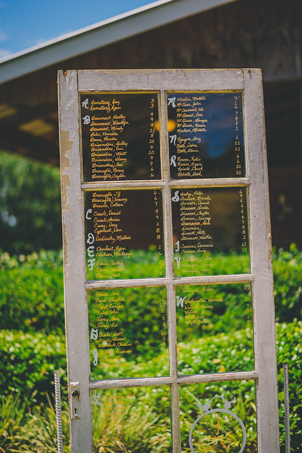 Rustic Window Pane Glass Door Wedding Seating Chart Marry Me Tampa Bay Local Real Wedding Inspiration Vendor Recommendation Reviews