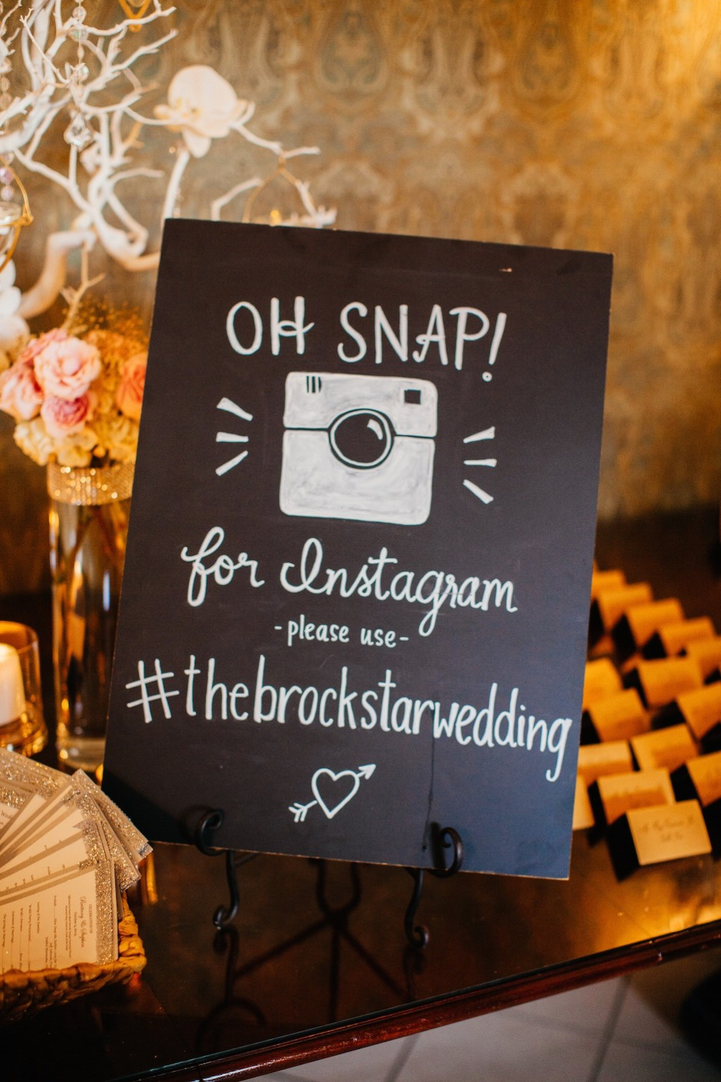 Wedding Instagram Hashtag Chalkboard Sign