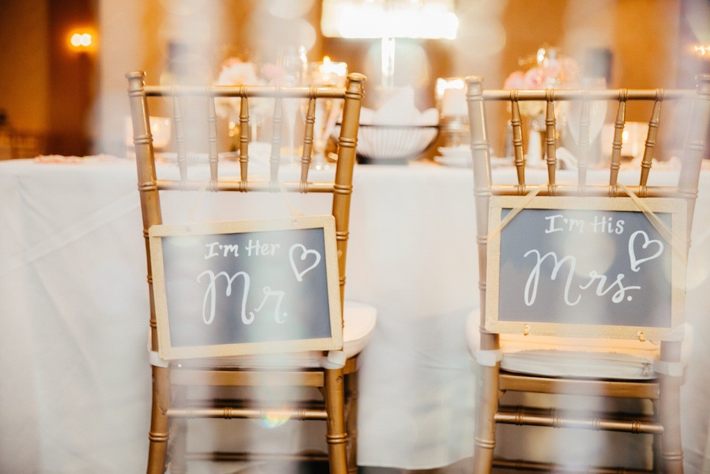Gold Chiavari Chairs with Chalkboard Mr. and Mrs Signs