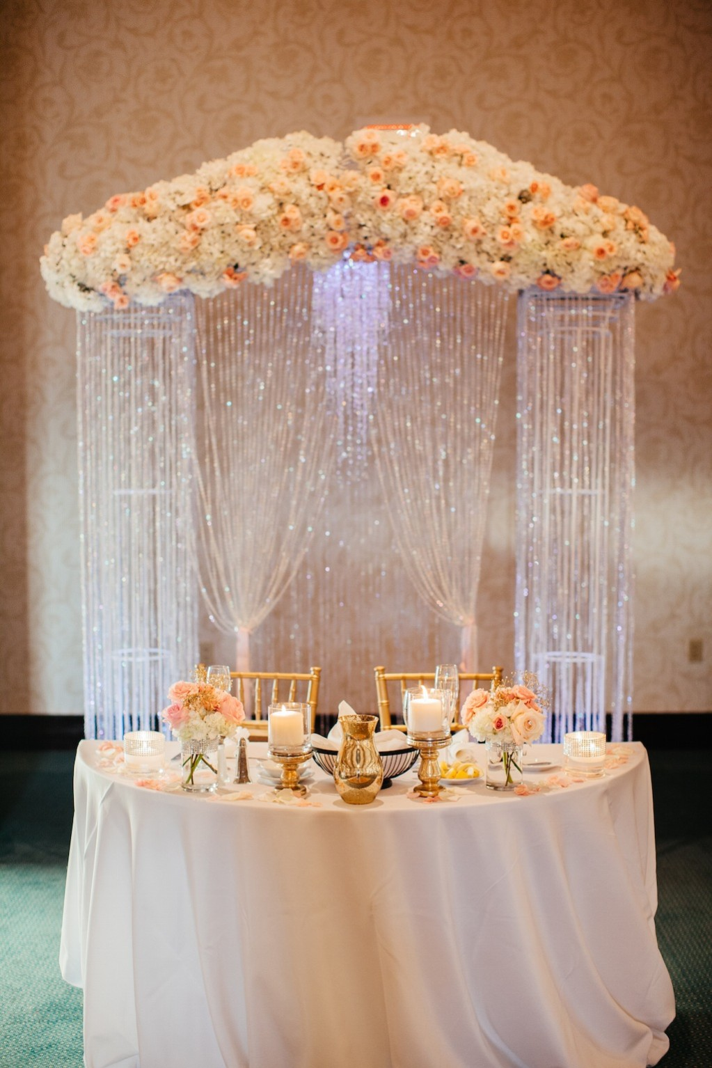 Pink and Peach Pastel Rhinestone Draped Rose Sweetheart Table