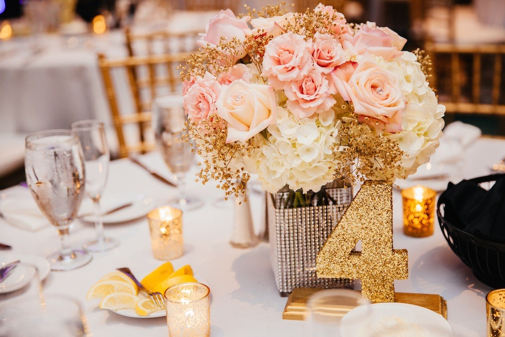 Pink and Peach Pastel Centerpieces with Gold Glitter Number   Northside Florist