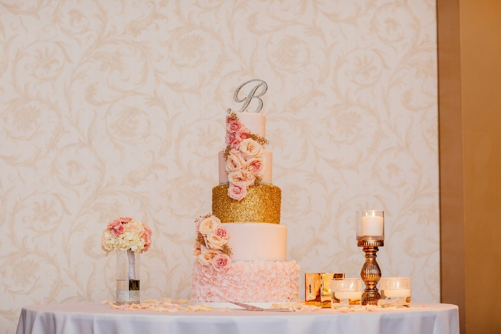 5-tier Wedding Cake with Gold Glitter and Pink and Peach Roses