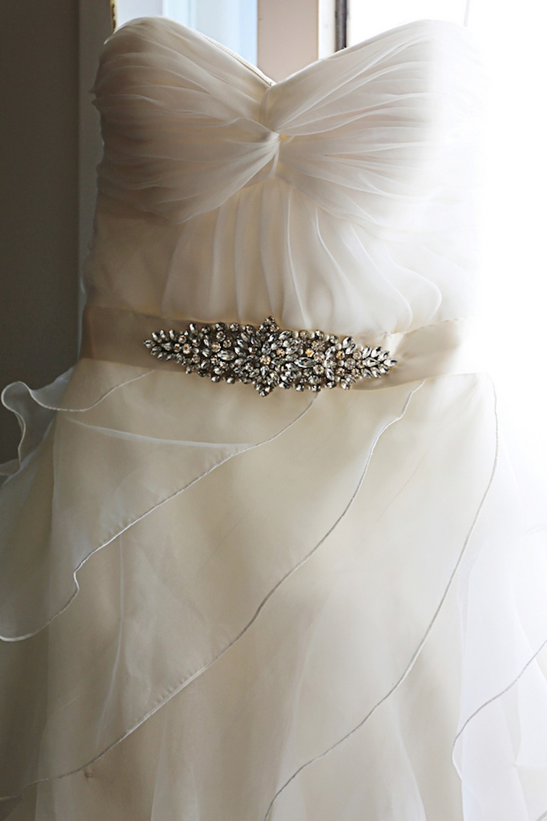 Kelly Chase Couture Belted Sweetheart Organza Wedding Dress