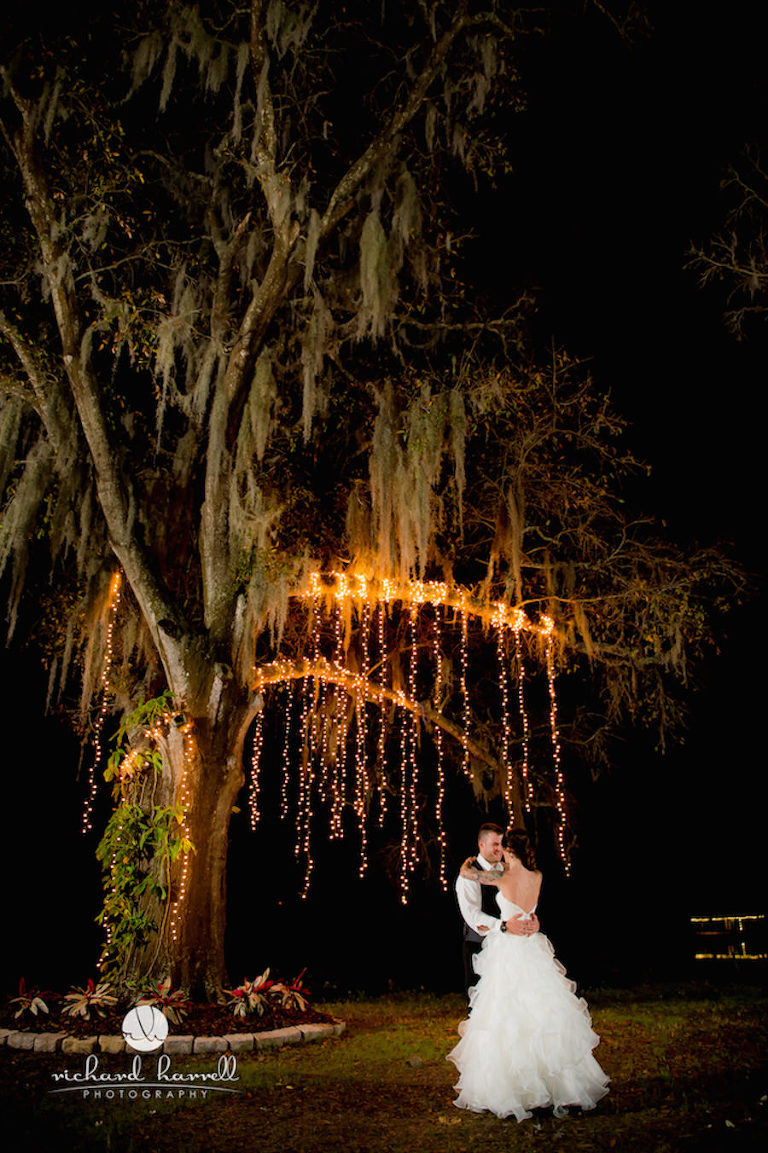 Outdoor Tampa Rustic Barn Wedding Venue Reception with Cafe Lighting | Barn at Crescent Lake at Old McMicky's Farm