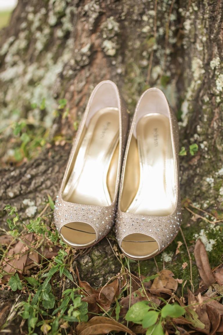 Gold Studded Rhinestone Wedding Shoes
