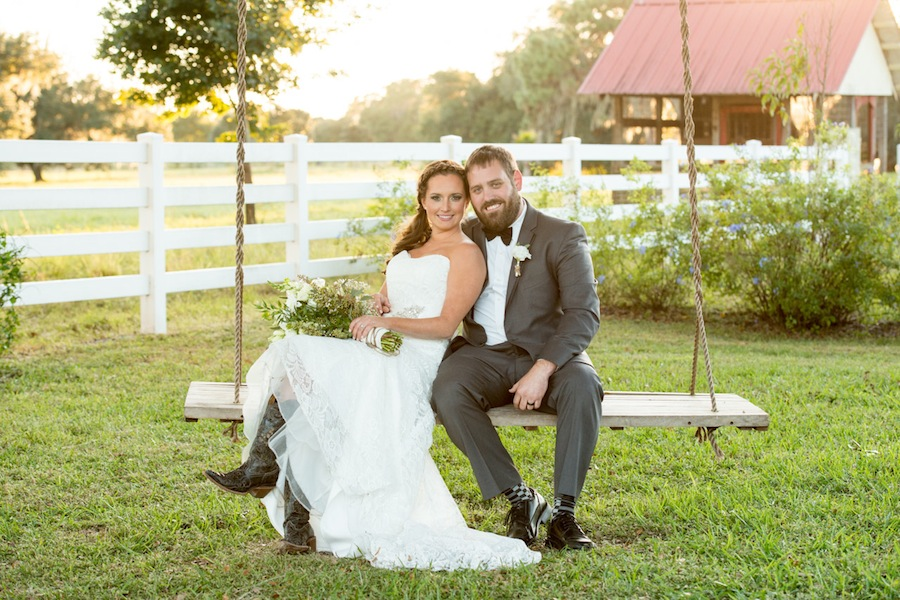 Rustic, Country Bride and Groom on Swing Wedding Portrait | Jeff Mason Photography