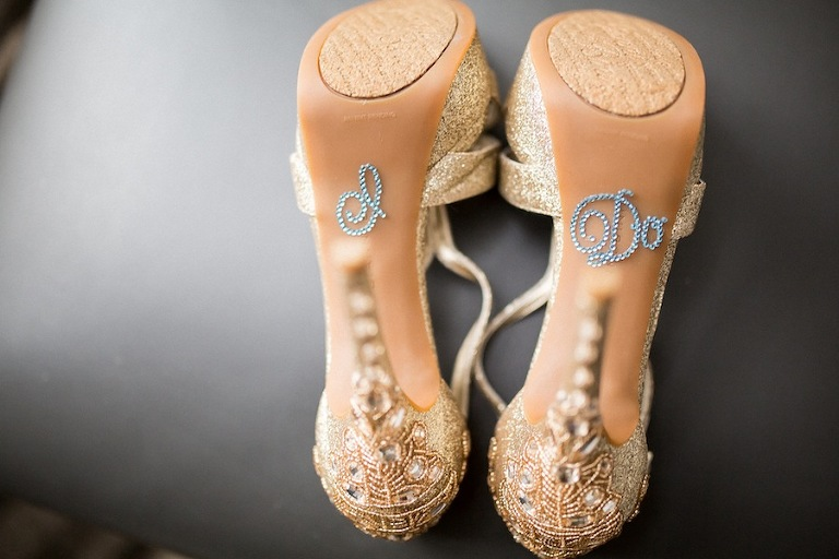 """I Do"" Rhinestones on Gold Wedding Shoes"