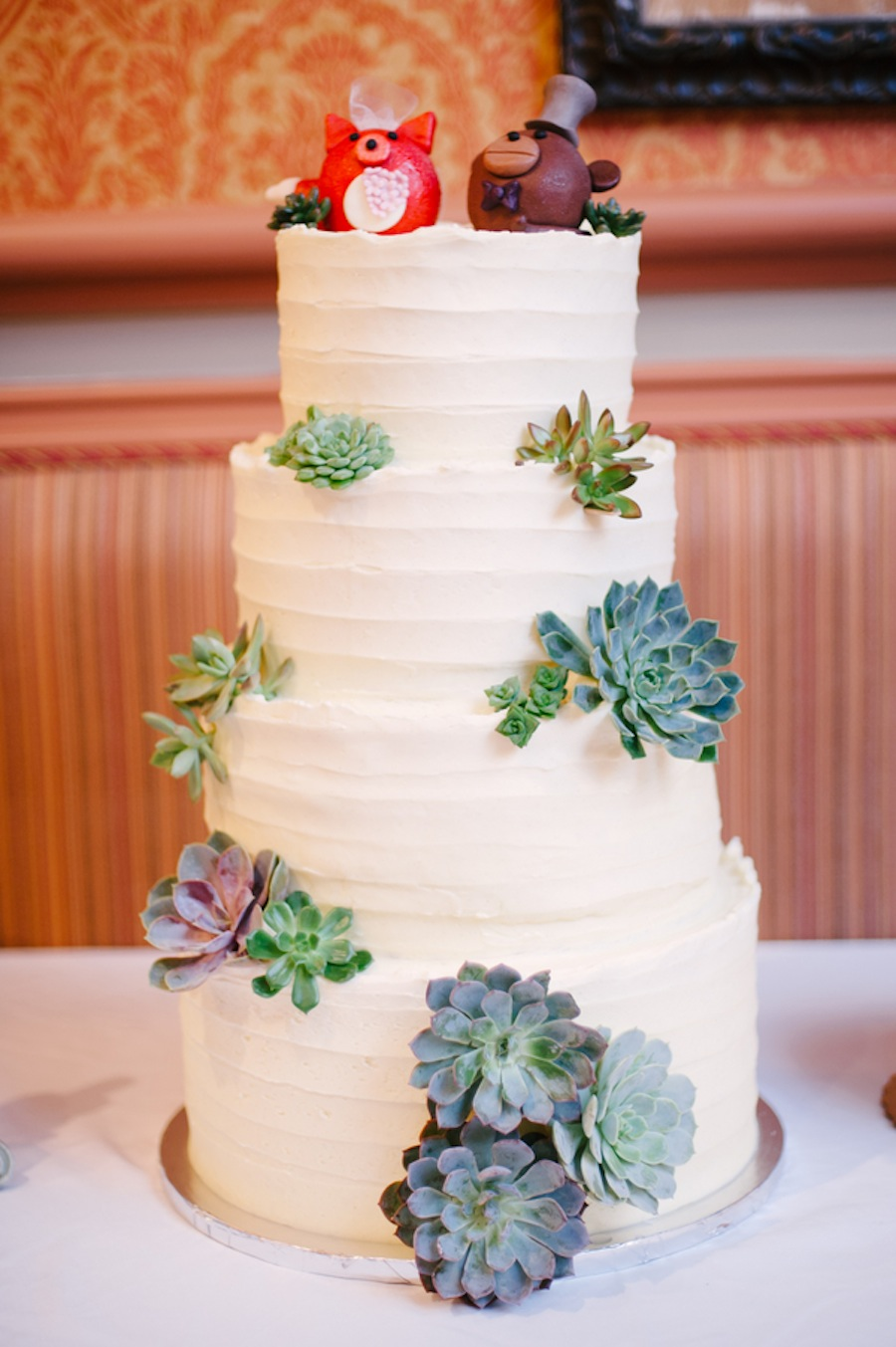 Vintage 4-Tier Wedding Cake with Succulents