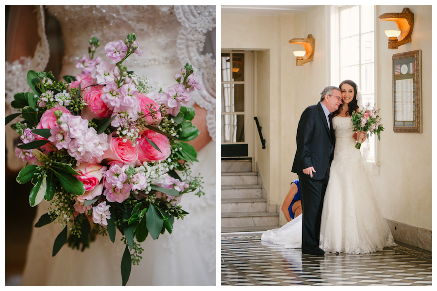 Pastel Pink Wedding Bouquet with Greenery & Foilage