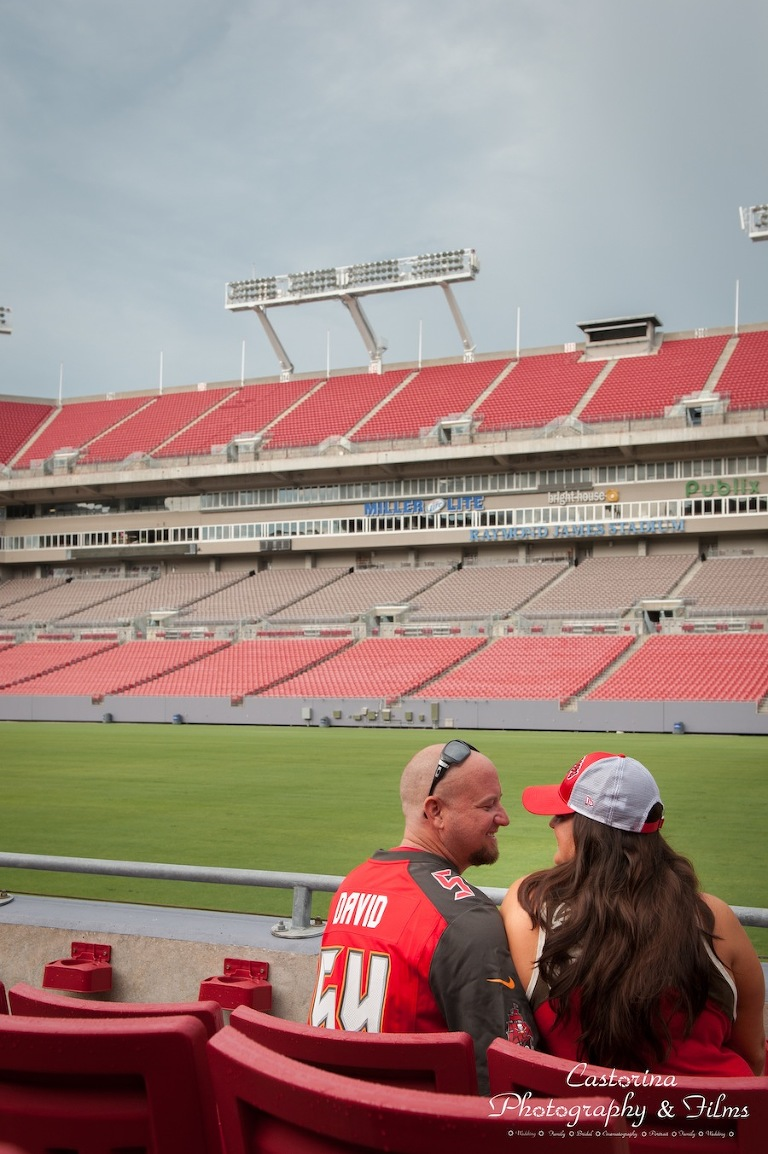 Tampa Bay Buccaneers Engagement Session at Raymond James Stadium | Tampa Wedding Photographer Castorina Photography