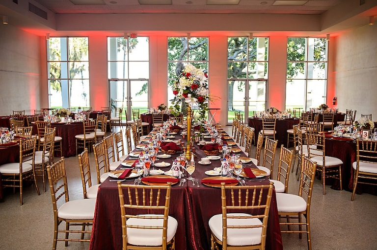 Red and Burgundy Wedding Ceremony Decor with Gold Chiavari Chairs
