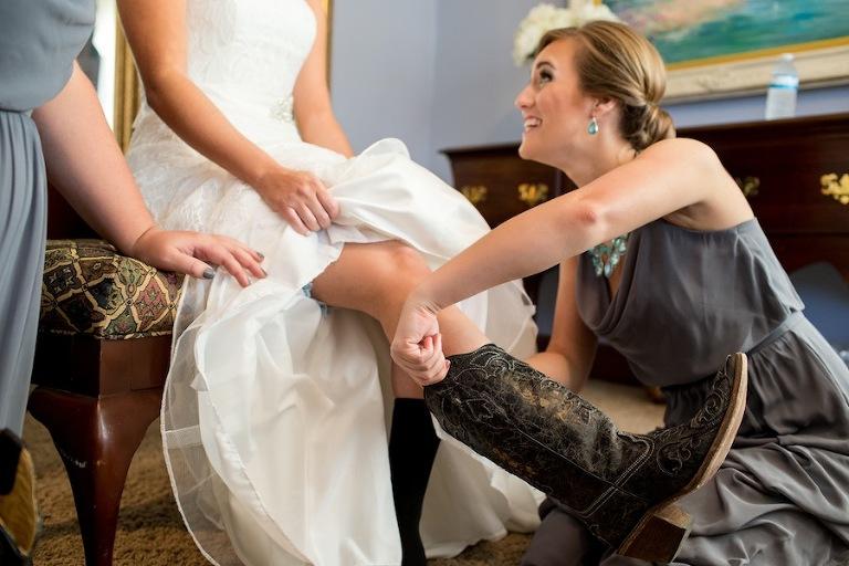 Bride in Cowboy Boots | Rustic Wedding
