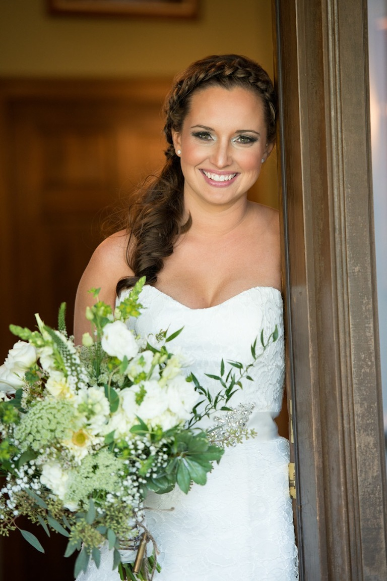 Rustic, Country Bride with White & Green Wedding Bouquet