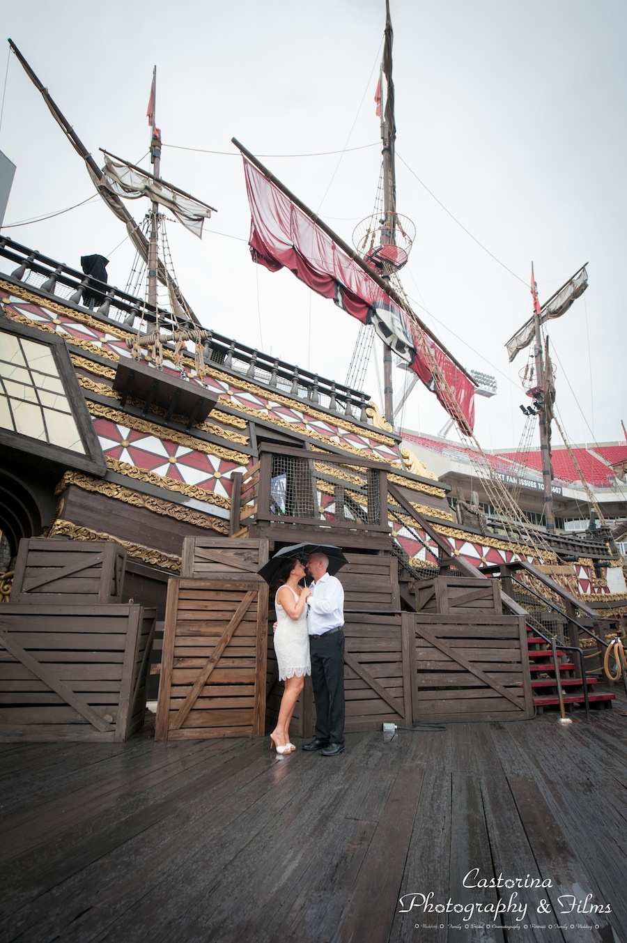Tampa Bay Buccaneers Pirate Ship Engagement Session at Raymond James Stadium | Tampa Wedding Photographer Castorina Photography