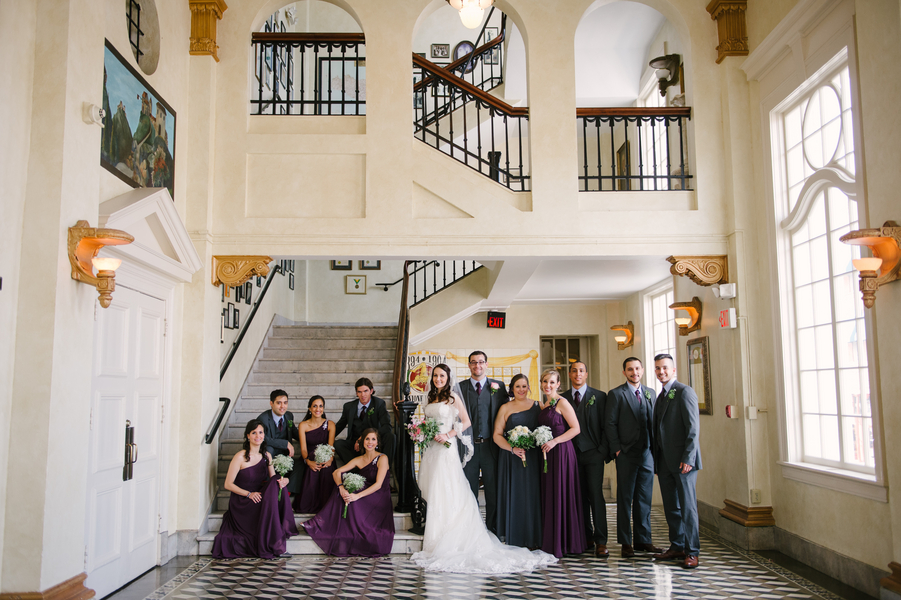 Purple Bridesmaid Dresses | The Italian Club Wedding Bridal Party