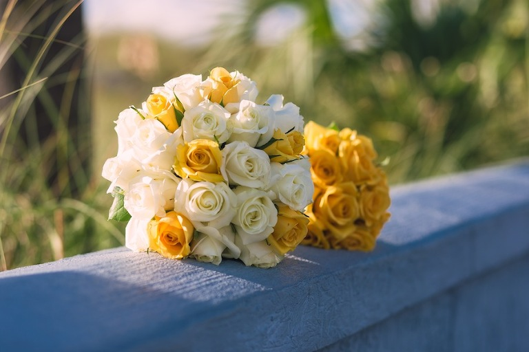 Yellow and White Rose Wedding Bouquet