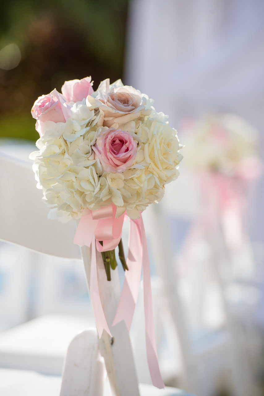 White and PInk Wedding Ceremony Decor Flowers