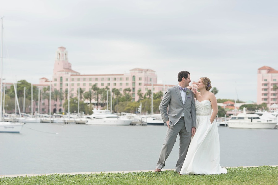 Bride and Groom Portrait in Downtown St. Pete on Wedding Day   Kristen Marie Photography