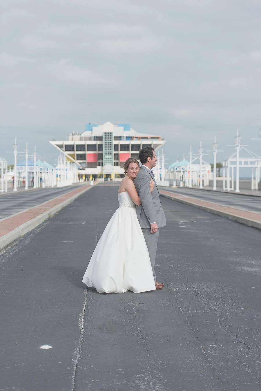 Bride and Groom Portrait in Downtown St. Pete at The Pier on Wedding Day   Kristen Marie Photography