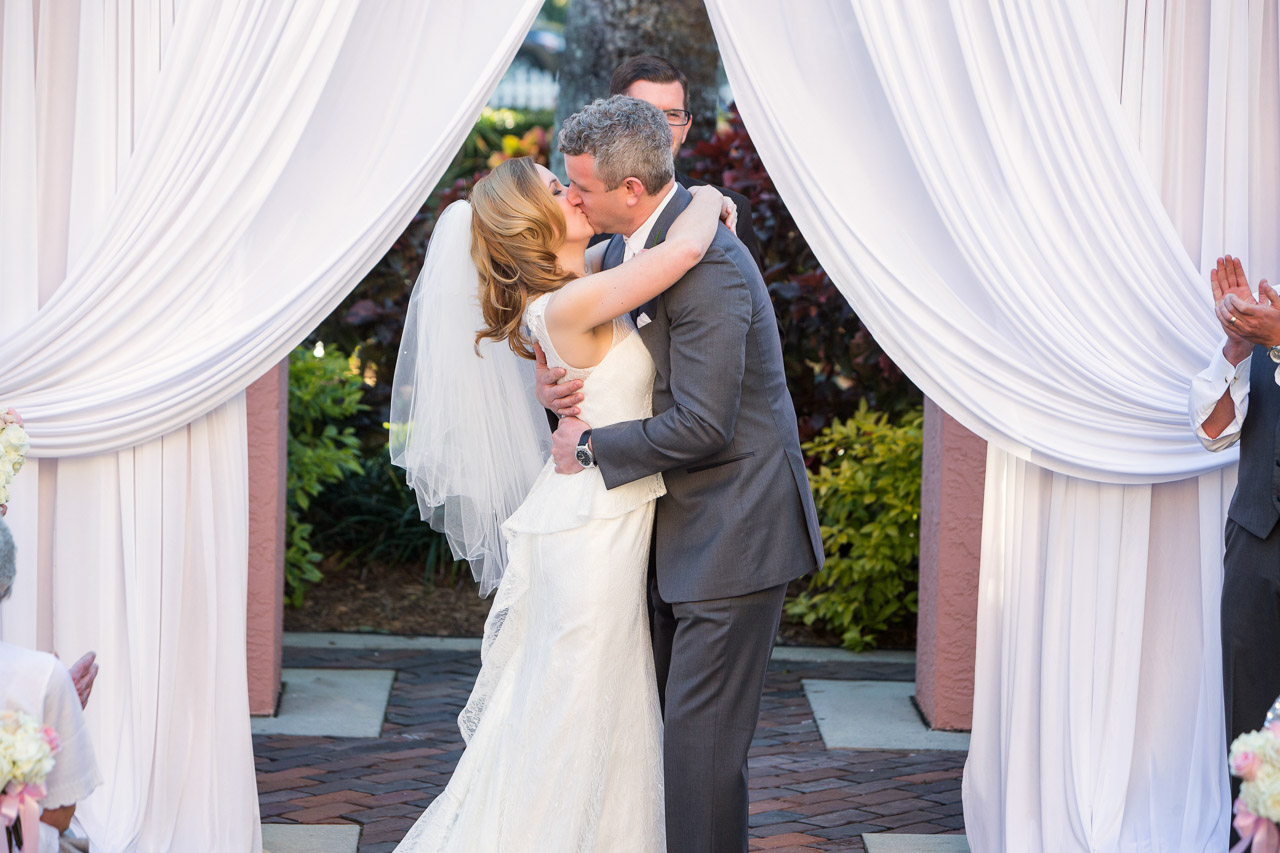 Bride and Groom First Kiss on Wedding Day