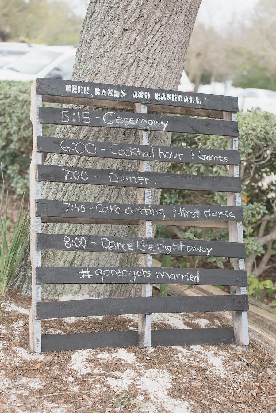 Wooden Chalkboard Ceremony Timeline Sign