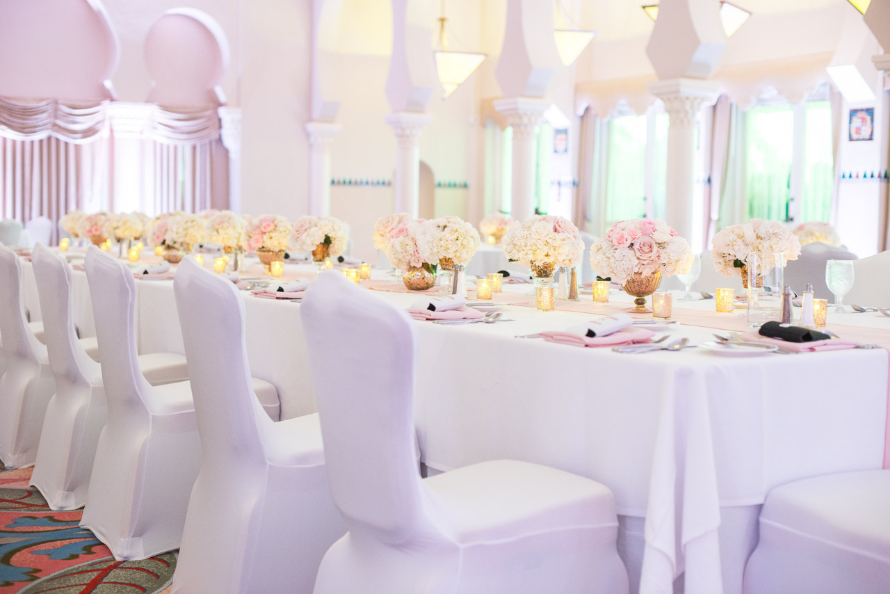 White Wedding Reception with Long Feasting Tables