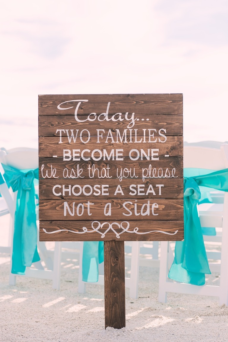 Wooden Beach Wedding Sign | Choose a Seat Not a Side