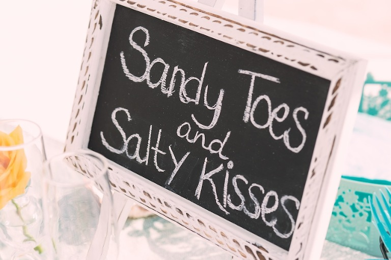 Sandy Toes Beach Wedding Chalkboard Sign