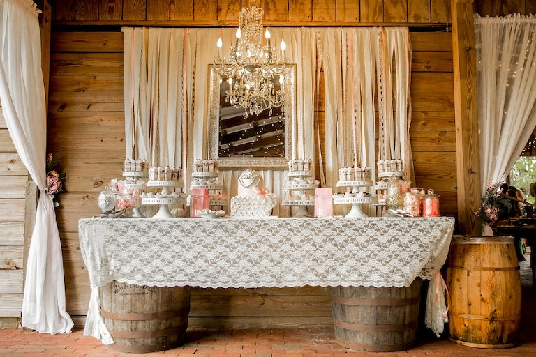 Rustic Wedding Cake Dessert Table | Alessi Bakery