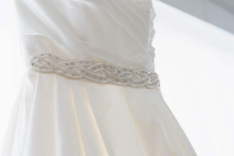 White Wedding Dress with Rhinestone Jeweled Belt