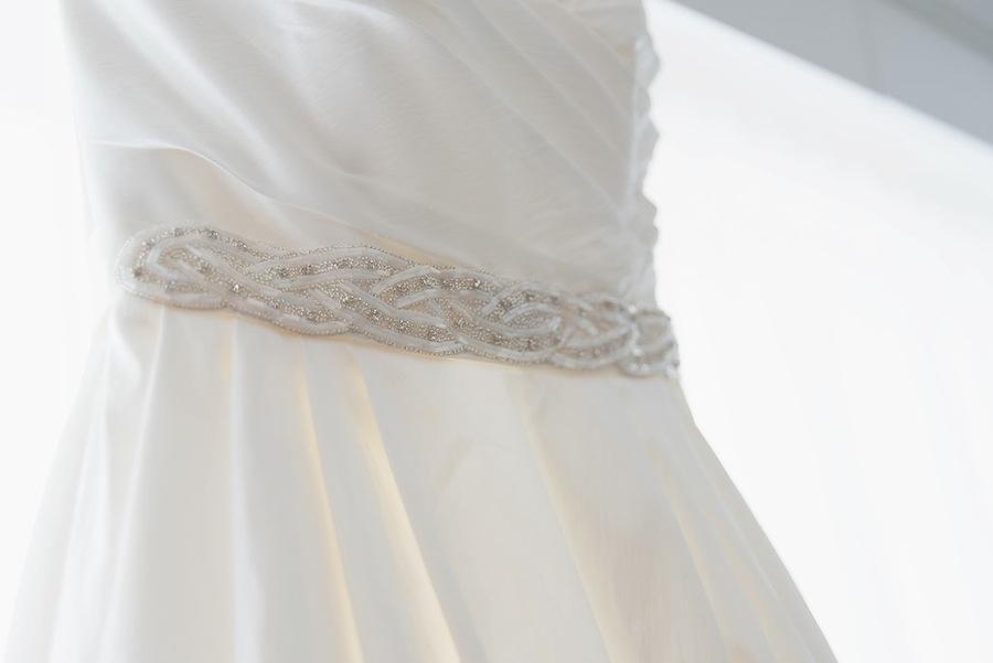 White Wedding Dress with Rhinestone Jeweled Belt