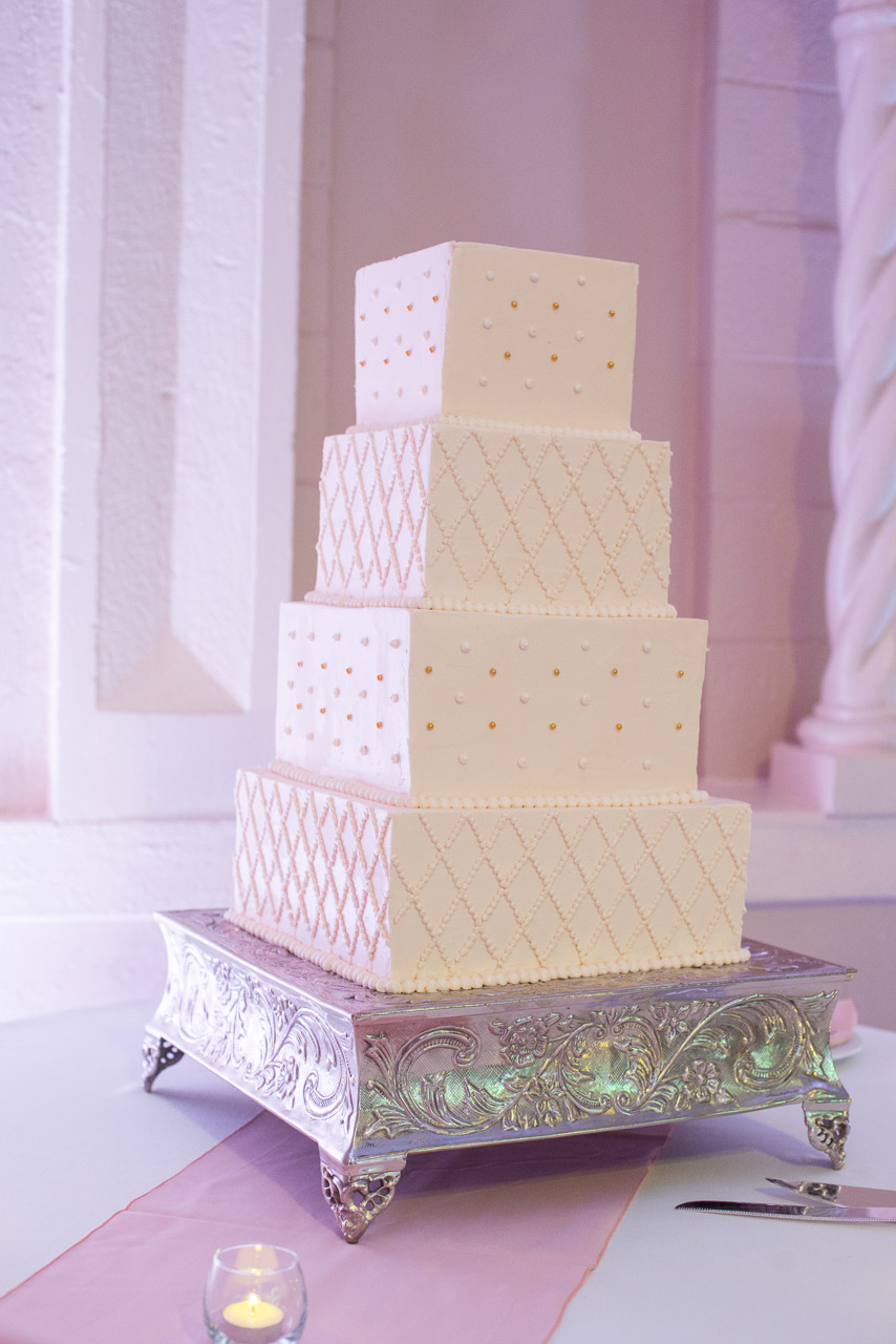 White, Gold and Pink Modern Square Wedding Cake