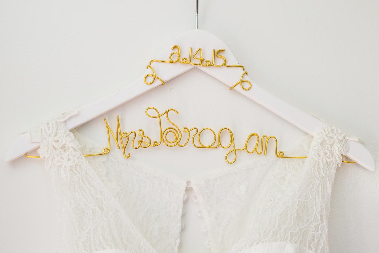 "White and Gold ""Bride"" Last Name Wedding Hanger"