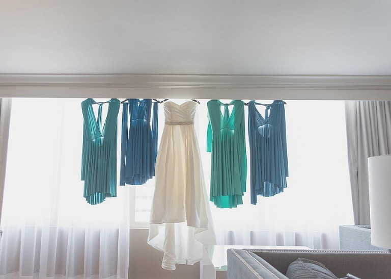 Green & Blue Bridesmaids Dresses