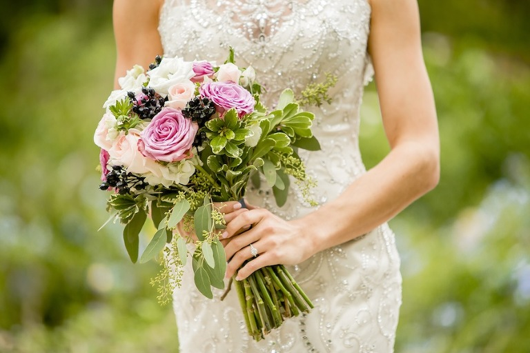 Rustic, Garden Pink & Lavender Wedding Bouquet